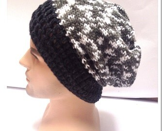 BUY1GET1HalfPRICE,Designer mans/mens/unisex hand crocheted/knitted striped oversized slouch beanie snood hat,charcoal black,grey,white.