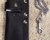 Leather Biker/Trucker Chain Wallet with Knife and Zippo