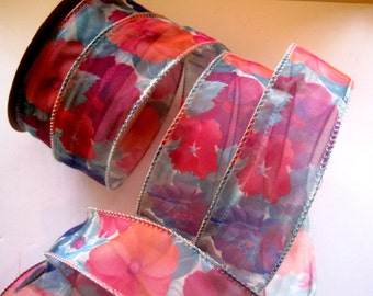 """Romantic Wired Floral Cheer Ribbon, Multi / Sheer, 1 3/8"""" inch wide, 1 yard For Gift Packing, Wreaths, Center Pieces, Home Decor, Wreaths"""