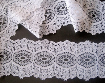 "Victorian Beading Lace Trim, White, 3 1/2"" inch wide, 1 Yard, For Victorian & Romantic Projects"