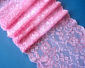 "Romantic Roses Extra Wide Stretch Lace, Pink, 6"" inch wide, 1 Yard For Apparel, Home Decor, Accessories, Mixed Media, Scrapbook"