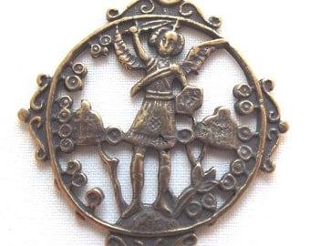 Bronze St. Saint Michael the Archangel Medal Paris 18C VP1074