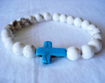 Reconstituted Turquoise Rustic Stone Cross and Dyed White Howlite Stretch Bracelet