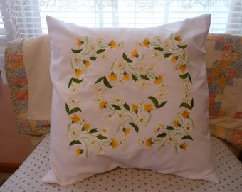 Yellow Daisys and Thistles Throw Pillow