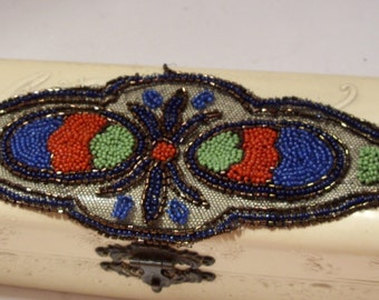 Exquisite Design Piece of Red, Blue, Green and Copper Seed Beads on Net