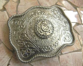 Monogram Letter C Personalized Silver Belt Buckle, Rhinestone Custom Monogrammed Womens Mens Kids Western Belt Buckle, Custom Gifts
