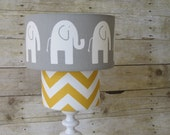 Lamp Shade Elephant Chevron Zig Zag Drum Lampshade 2 Tier in Mustard Yellow and Gray Grey or YOU CHOOSE COLORS