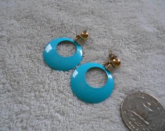 Vtg RETRO Pierced Earrings-Turquoise Enamel Hoops-R3506