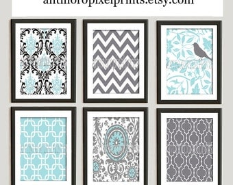 Blue Grey White Vintage / Modern Inspired Prints Collection  - Set of 6 - 8x10 Prints -  (UNFRAMED)