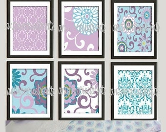 Children / Nursery Wall Art  Prints Collection  -Set of 6 - Wall Art Prints -Baby Purple Turquoise Blue White   (UNFRAMED)