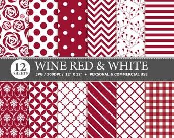 BUY 1 GET 1 FREE - 12 Dark Red & White Digital Scrapbook Paper, digital paper patterns for card making, invitations, scrapbooking