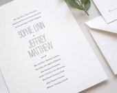 LETTERPRESS SAMPLE  |  Minimalist Chic Suite  |  letterpress wedding invitation  |  simple invitation  |  weddings |  letterpress invitation