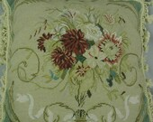 Exquisite Needlepoint Floral Pillow with Tassel Fringe, Antique Look