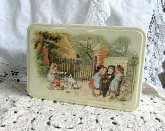 Sweet Candy Tin Hinged For Storage of Vintage Treasure, French Biscuit Box