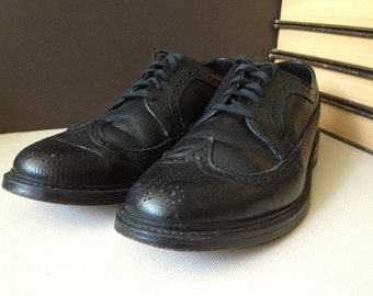 Black Leather Wingtip Oxford Brogues Size 10