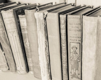 Black And White Old Vintage Books On A Shelf Print