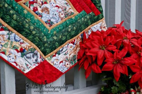 Christmas Tree Skirt Quilt - Kitty Christmas 101