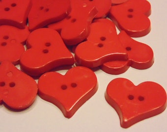6 heart buttons, 25 mm, (B7)