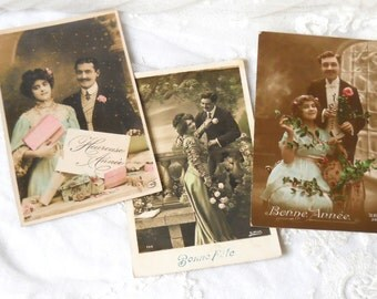 3 antique french postcards happy new year vintage postcards french postcard french vintage happy new year antique postcard