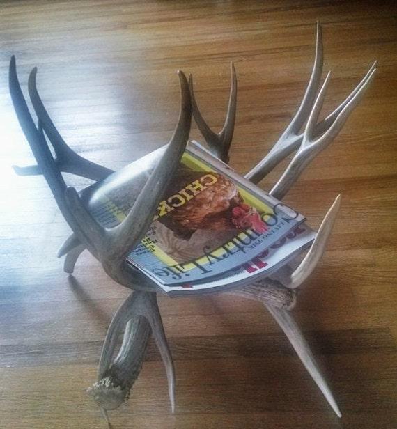 """NEW 15"""" x 18"""" Deer Buck Antler Magazine Newspaper Rack"""