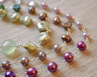 Long Pearl Necklace, Purple Lavender Green Ombre, Pink Amethyst Gemstone, Freshwater, Bridal Jewelry - Changing Spring - Free Shipping