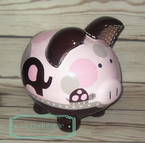 Items similar to personalized piggy bank emma artisan hand painted ceramic piggy bank elephant - Ceramic elephant piggy bank ...