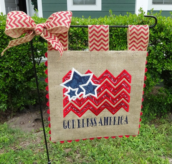 Burlap Garden Flag 4th of July God Bless Americal Flag