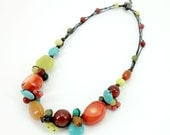 Red coral mix multi stone wax cotton cord necklace.