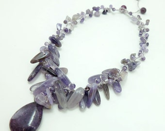 Drop amethyst pendant hand-knotted on silk thread necklace