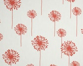 """Coral Pillow Cover Coral & White Dandelion.Dandelion  Accent Pillow Covers .16"""",17"""",18"""",20"""" 24"""" 26"""", Lumbar Pillow or Euro Sham"""
