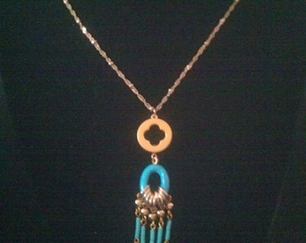 Vintage Costume Gold Tone with Turquoise Beads Necklace