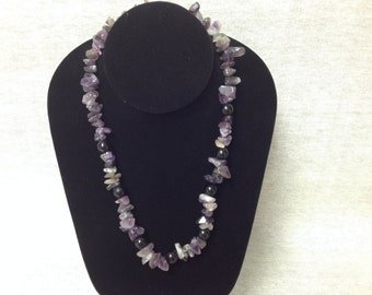 Vintage Purple/Amethyst Stone with Black Plastic Bead Necklace
