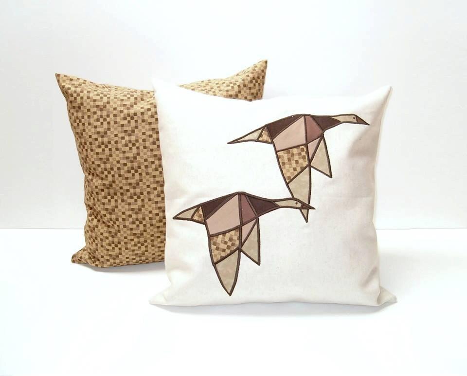 Modern Geometric Bird Cushions, Designer Pillow, Appliquéd