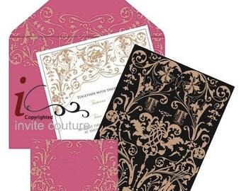 Die Cut Custom Luxury Invitations-Lasercut custom Luxury invitations - Luxury Mettalic Wedding Invitations -  Couture Invitations