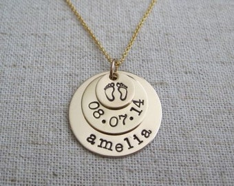 New Mom Necklace - Baby Name Necklace with Birthdate and Tiny Footprints - Personalized Hand Stamped Jewelry
