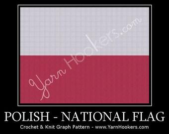 Polish National Flag - Afghan Crochet Graph Pattern Chart by Yarn Hookers
