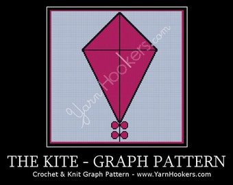 Pink Kite with Bows - Afghan Crochet Graph Pattern Chart - Instant Download