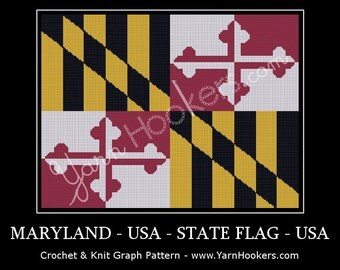 Maryland -  State Flag - Afghan Crochet Graph Pattern Chart - Instant Download