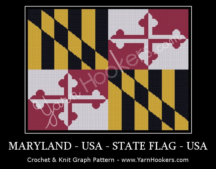 Maryland State Flag Afghan Crochet Graph Pattern Chart