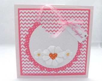 Pink New Baby Congratulations Card with Bib
