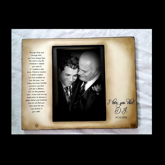 Father Son Rustic Distressed Gift Personalized Wedding Picture Frame ...