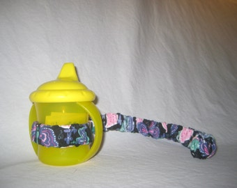 Sippy Cup Strap Pink Hearts & Purple Butterflies on Black  - Ready to Ship
