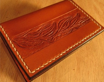 Leather Card Holder, Leather Card Case, Hand Tooled