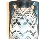 Vintage Navajo Pottery, Large Geometric Vase, Home Decor, Native American, Vintage Vase, Black Vase, Antique Alchemy, Office Decor