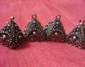 Bronze plated  medium jhumkas or Indian hanging earring bases x 2, 15mm, free combined shipping