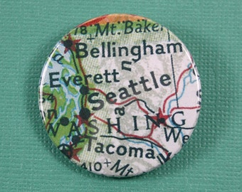 Pinback Button, Seattle, Ø 1.5 Inch Badge, Atlas, Travel, vintage, fun, typography, whimsical