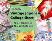 """Vintage Japanese Artwork Digital Collage Sheet  - 1 Inch Squares and Scrabble Sized .75"""" x .83"""" Printable for Jewelry & Crafts Japan"""