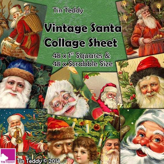 Tin Teddy Vintage Santa Squares