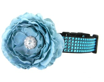 Turquoise Rhinestone Dog Collar Flower Set, Dog Flower Collar: Turquoise Rhinestone