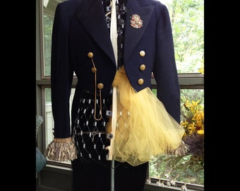 Winifred-Vintage Navy Blue Tux Tails, Gold Fringe, Military Academy Buttons, Gold Tone Watch Chain, Vintage Ornate  Metallic Crest Shield